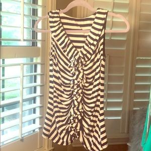 Express blue and white striped top w/ruffle front